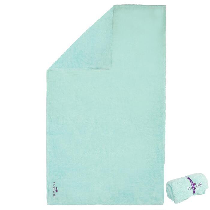 Zeer zachte microvezelhanddoek blauw groen maat L 80 x 130 cm