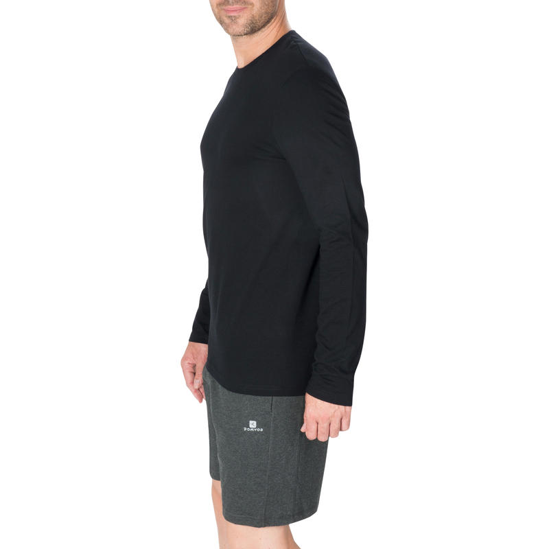 100 Long-Sleeved Gentle Gym & Pilates T-Shirt - Black