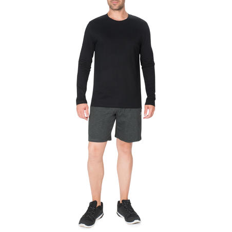T-Shirt Senam Ringan & Pilates Lengan Panjang 100 - Hitam