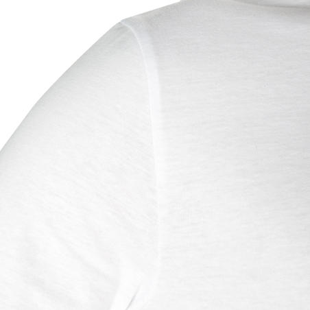 100 Long-Sleeved Gentle Gym & Pilates T-Shirt - White
