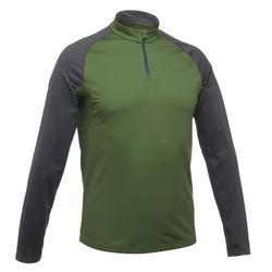 T-Shirt manches longues de randonnée neige homme SH100 chaud pétrole sombre.