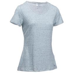 Dames T-shirt 500 voor gym en stretching regular fit gemêleerd grijs