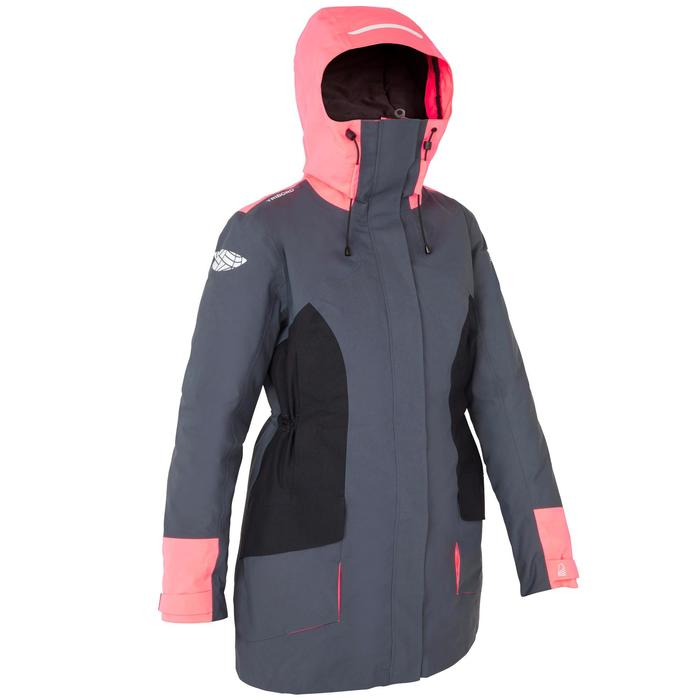 Chaqueta Cortaviento Impermeable Barco Vela Tribord 500 Mujer Gris/Rosa