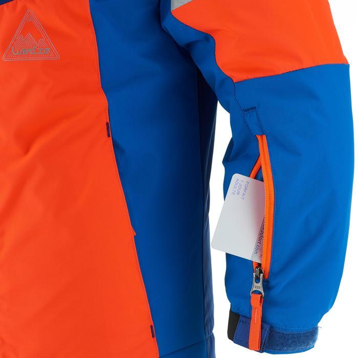 Kinder ski-jas 300 blauw/fluo-oranje