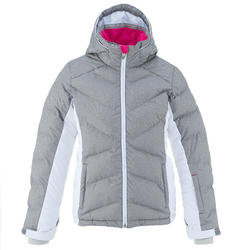 SKI-P JKT 500 WARM KIDS' PADDED SKI JACKET - GREY/WHITE