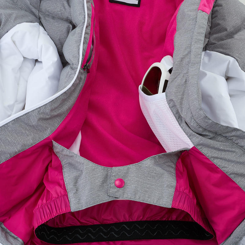 CHAQUETA ACOLCHADA DE SKI NIÑOS SKI-P JKT 500 WARM GRIS Y BLANCO
