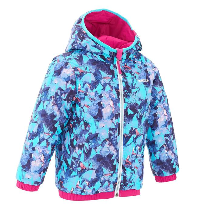 Kinder ski-jas Warm Reverse roze / motief sneeuwkristallen