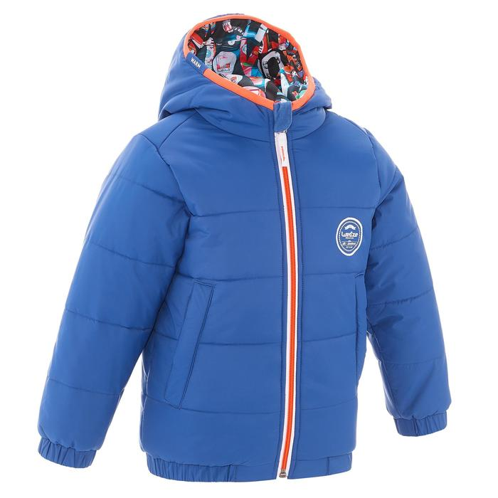 Kinder ski-jas Warm Reverse blauw lettermotief