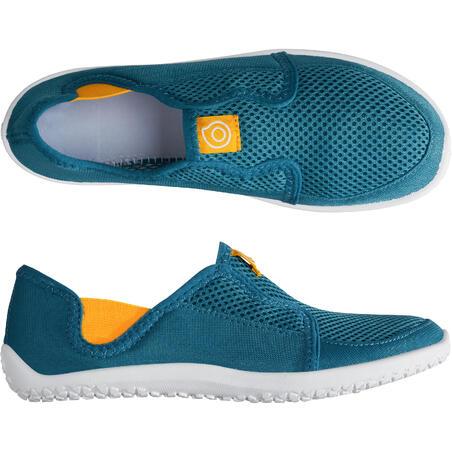 Zapatos Acuáticos De Río Escarpines Cangrejeras Snorkel 120 Niños Verde