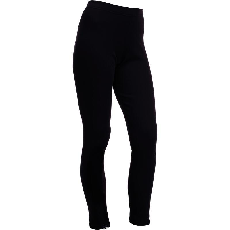 女款滑雪底層長褲100 - 黑色