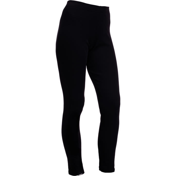 女款滑雪底層長褲Simple Warm - 黑色