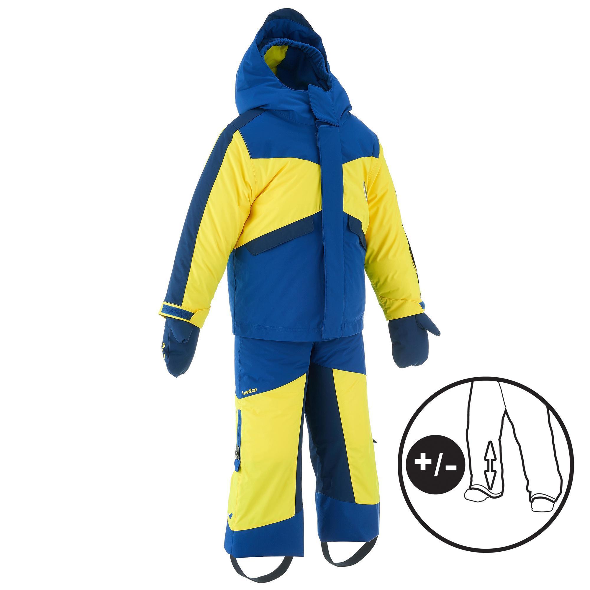 Wed'ze Ski-outfit 500 Pull 'n Fit voor kinderen paars-oranj e
