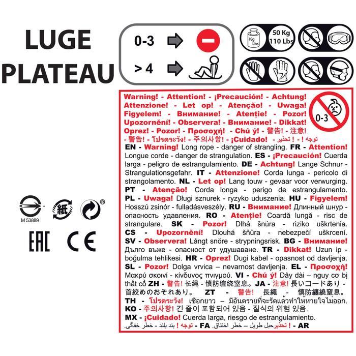 Luge plateau enfant avec frein rouge - 1238982