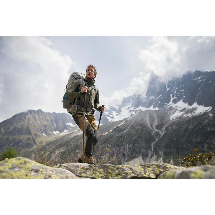 Veste softshell trekking montagne TREK900 WINDWARM homme kaki