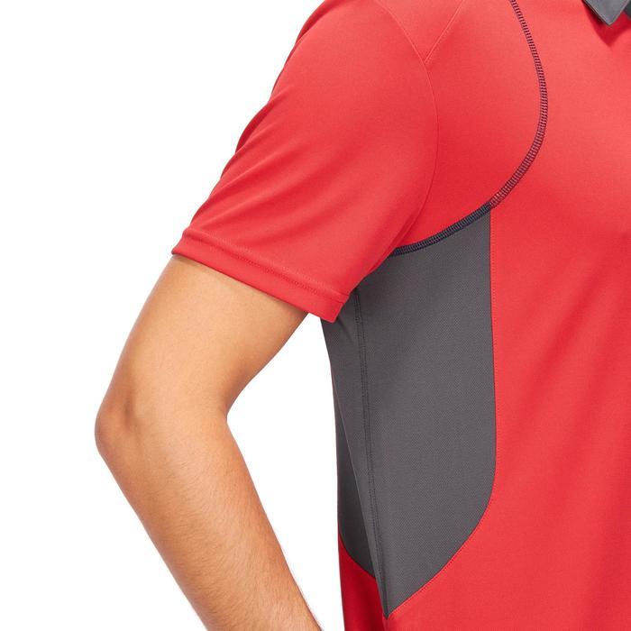 Polo manches courtes équitation homme PL500 MESH rouge et gris