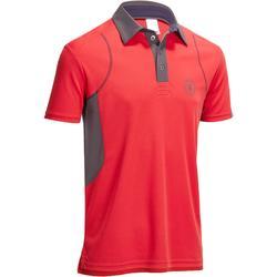 Poloshirt met korte mouwen ruitersport heren PL500 Mesh rood en grijs