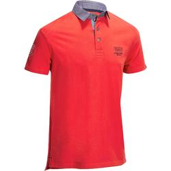 100 Short-Sleeved Horse Riding Polo Shirt - Red