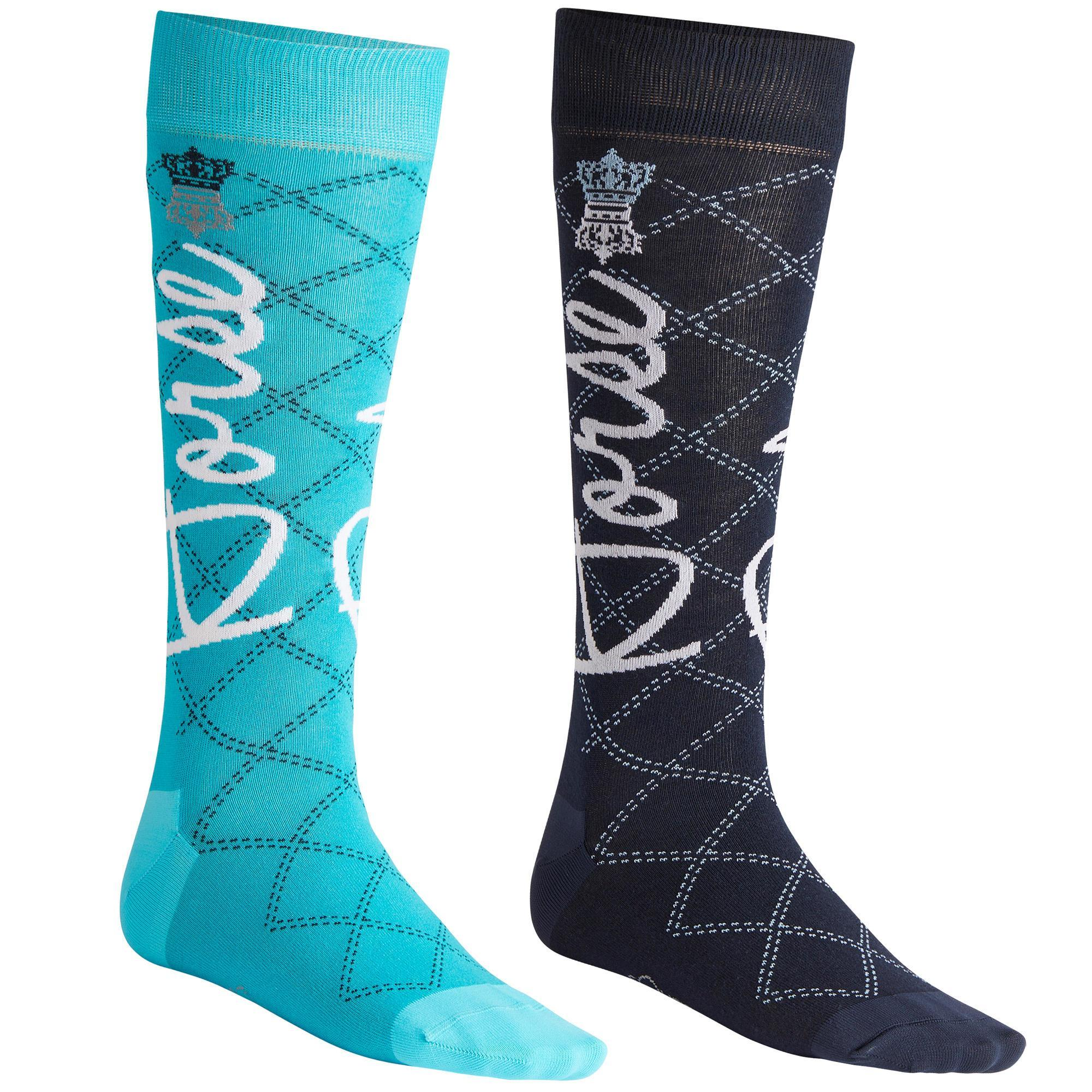 Fouganza Rijkousen dames 500 LIGHT marineblauw en turquoise