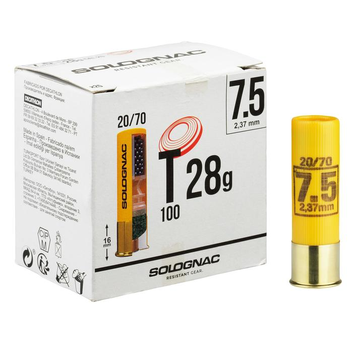 CARTUCHO BALL TRAP T100, 28 g, CALIBRE 20/70, PLOMO N.º7,5 X25