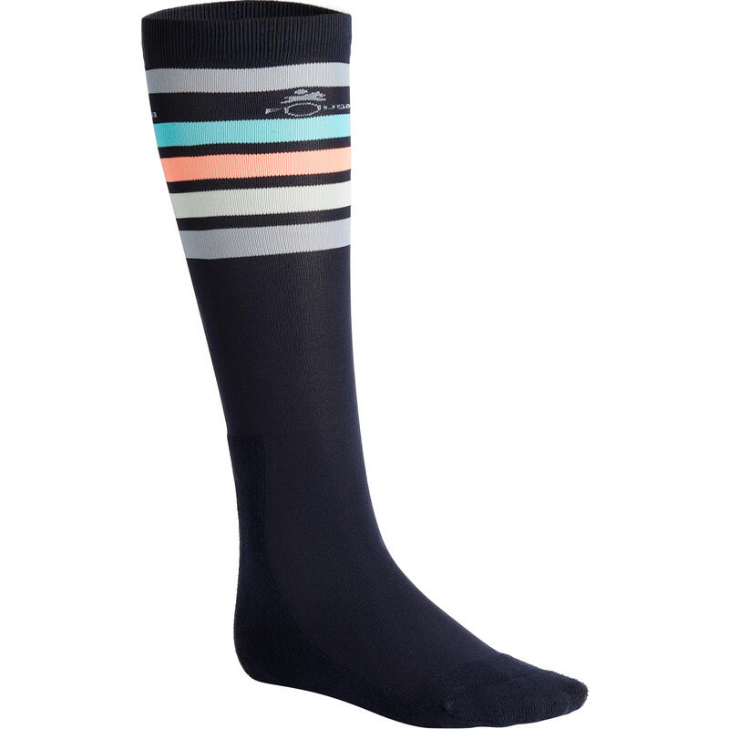 100 Adult Horse Riding Socks - Navy/Pink Stripes