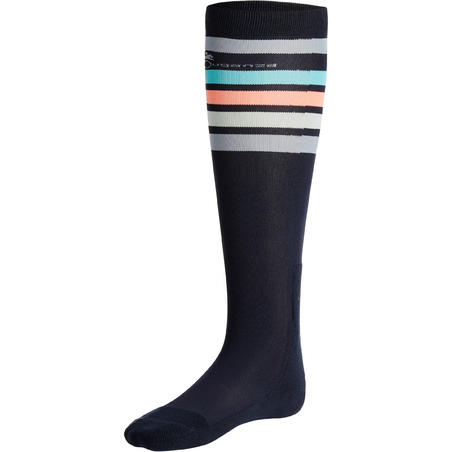 100 Adult Horse Riding Socks - Navy/Pink Stripes