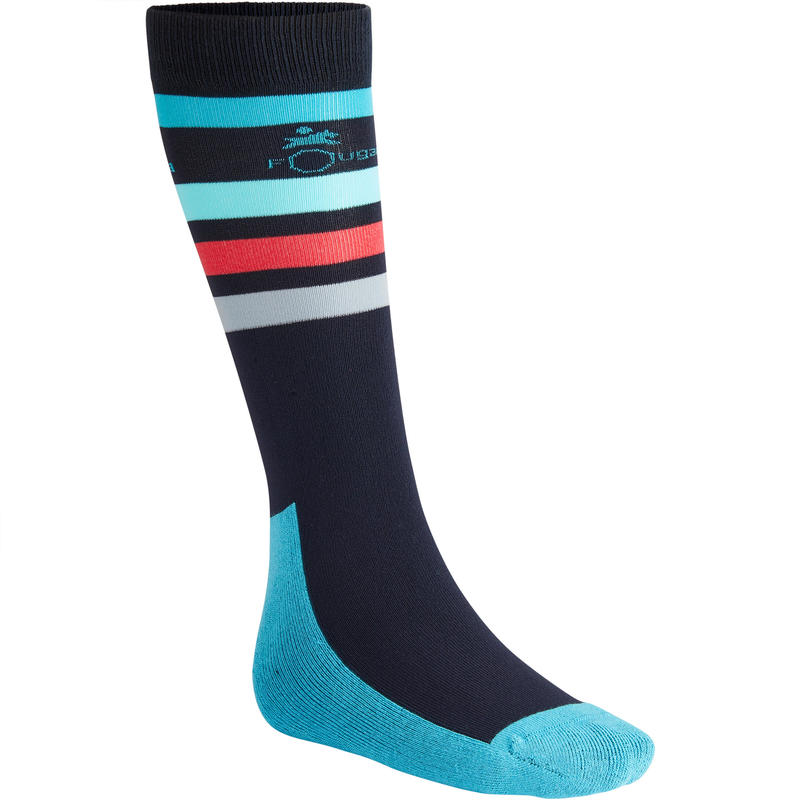 SKS100 Children's Horse Riding Socks 1-Pair - Navy/Turquoise Stripes