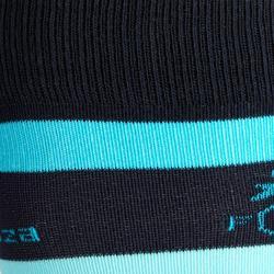 Reitsocken SKS100 Kinder Einzelpaar marineblau mit türkisfarbenen Streifen