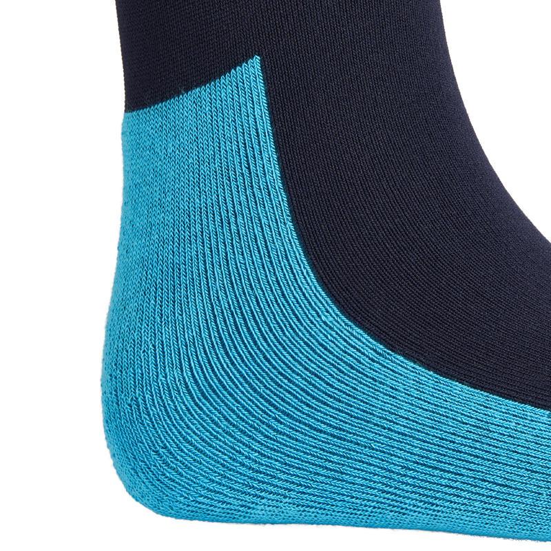 Chaussettes équitation enfant SKS100 marine rayures turquoises x1