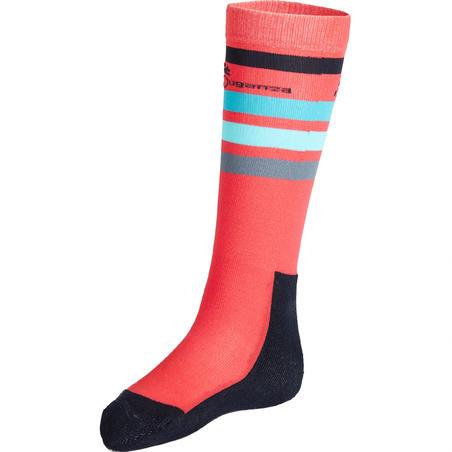 100 Girls' Horse Riding Socks - Pink/Turquoise Stripes