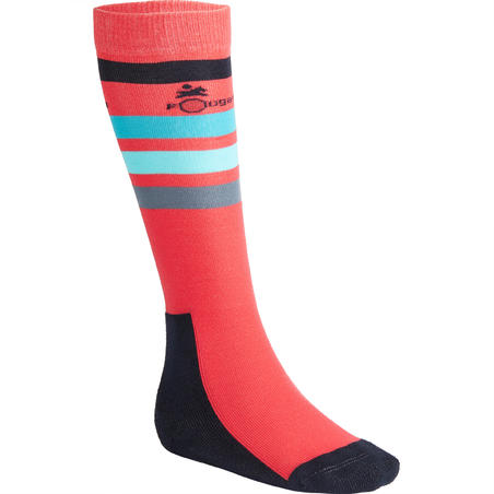 Chaussettes équitation fille 100 rose/rayures turquoise