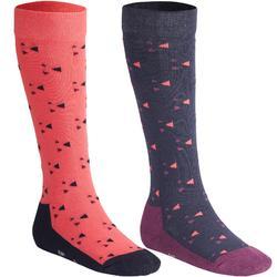 兩雙入女童款馬術襪500-軍藍色/粉紅色