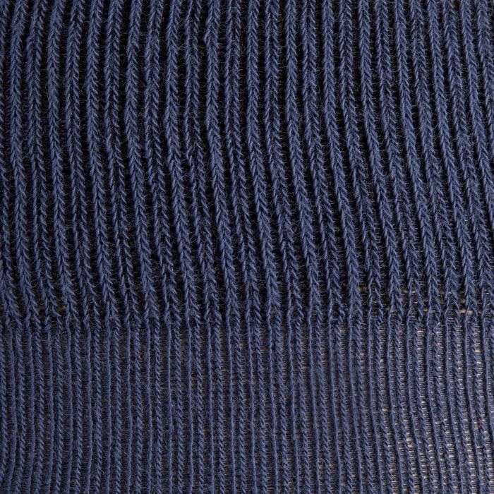 Damessokken ruitersport 500 Grip marineblauw met blauwe siliconen patches