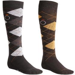 Chaussettes équitation adulte LOSANGES marron et gris x2