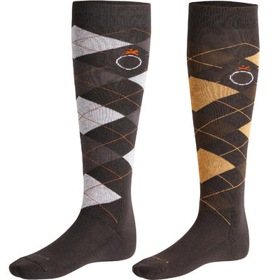 Argyle Adult Horse Riding Socks Twin-Pack - Brown and Grey