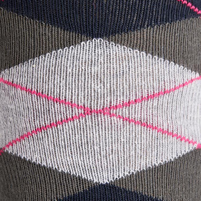 Calcetines equitación adulto ROMBOS azul marino, gris y rosa x2