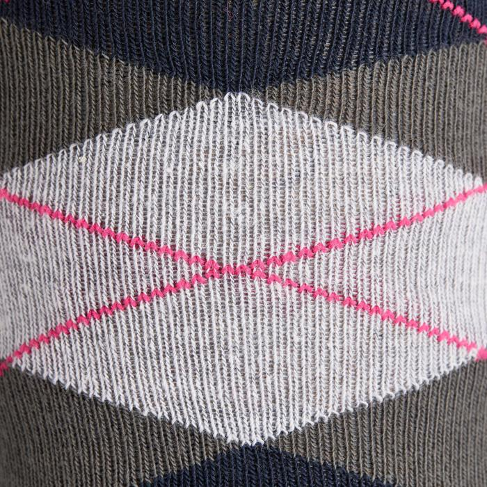 Reitsocken kariert Erwachsene marineblau/grau/rosa Doppelpack