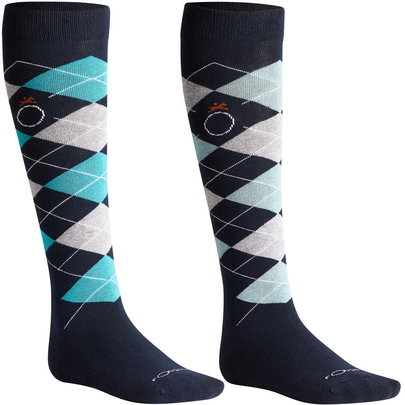 Losanges Adult Horse Riding Socks Twin-Pack - Navy/Turquoise and Navy/Light Grey
