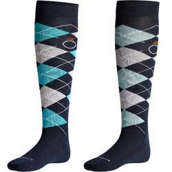 Calcetines equitación adulto ROMBOS azul marino/turquesa, azul marino/gris claro