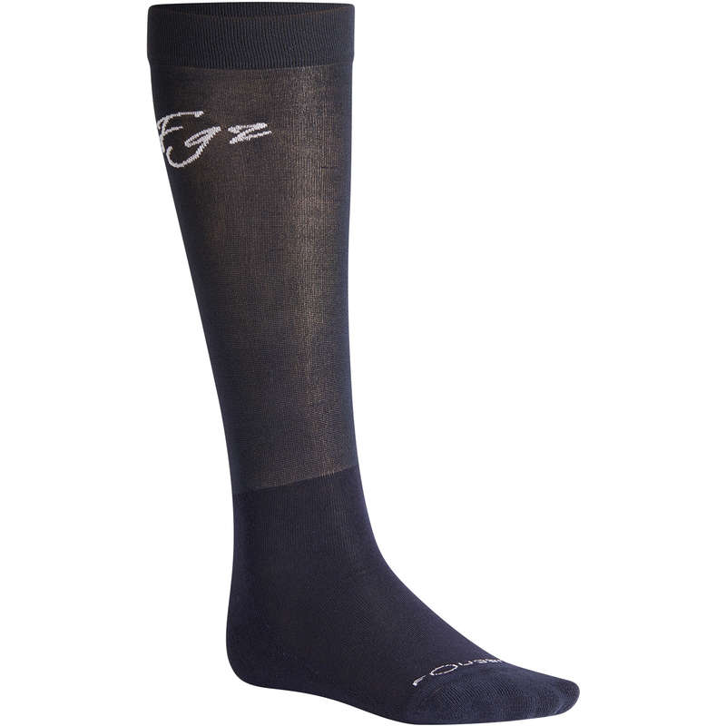 RIDING SOCKS ADULTE Horse Riding - Light Low-Rise Socks - Navy FOUGANZA - Horse Riding