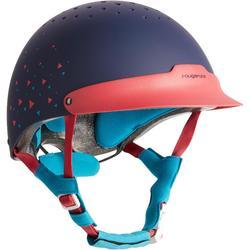 Paardrijcap C120 roze/marineblauw/eendenblauw