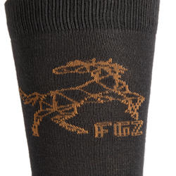 500 Boys' Horse Riding Socks Twin-Pack - Light Grey and Dark Grey/Camel