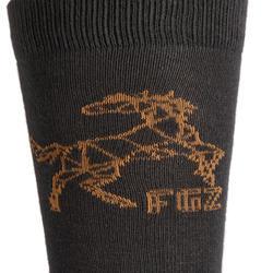 Chaussettes équitation garçon 500 BOY gris clair et gris foncé/camel