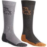 500 Boys' Horseback Riding Socks Twin-Pack - Light Grey and Dark Grey/Camel