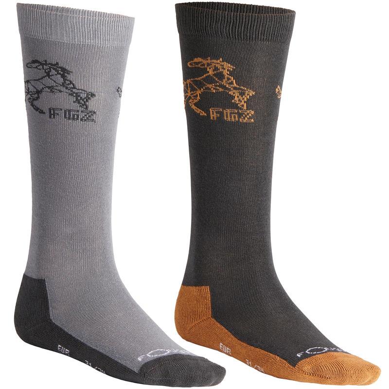 Bas équitation garçon 500 GARÇON gris clair et gris foncé/camel