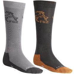 Calcetines equitación niños 500 BOY gris y camel x2