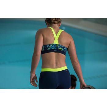 Sportbikini-Oberteil Bustier Aquabiking Anna Damen grau/gelb
