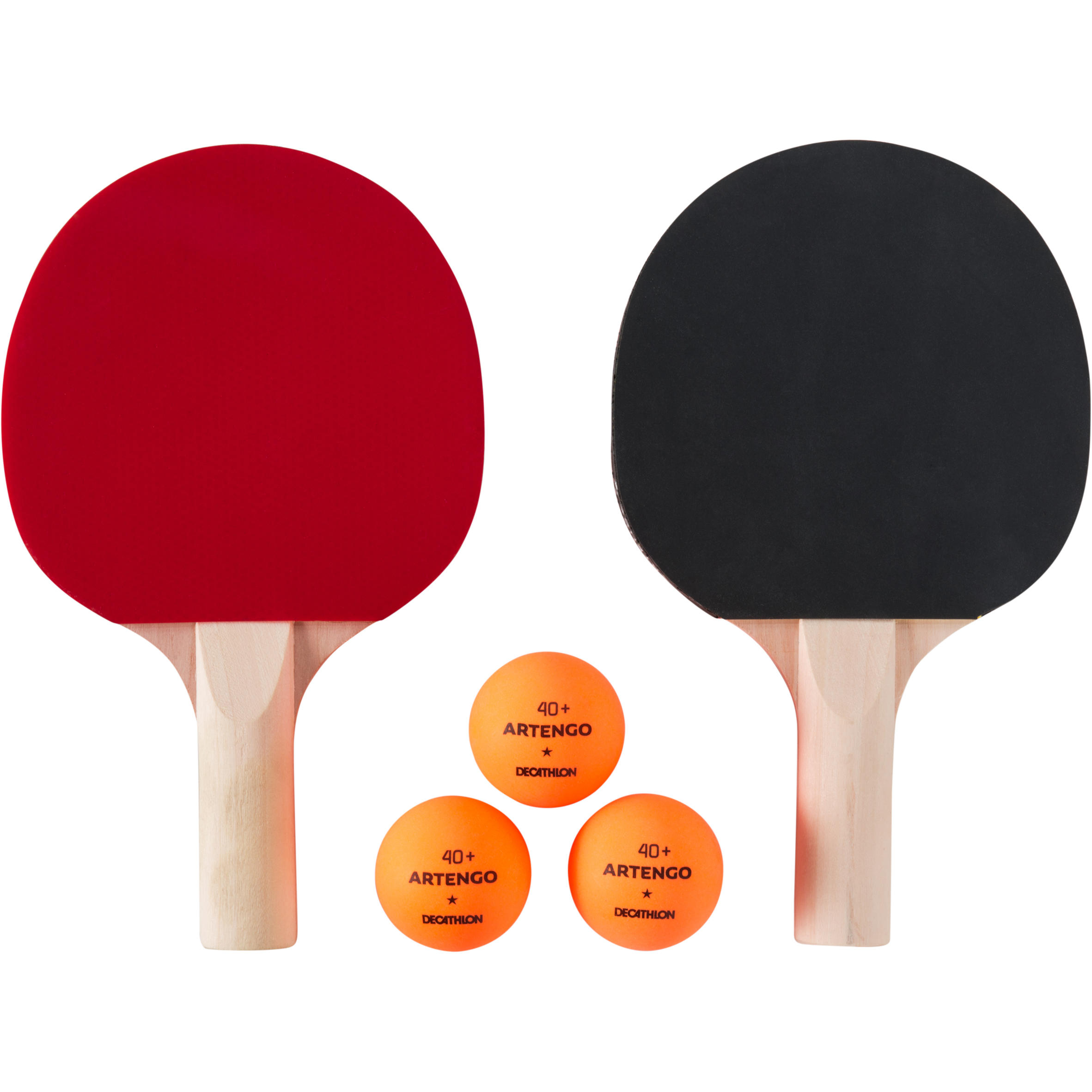 Ensemble de 2 raquettes de tennis de table et 3 balles PPR 100 petit intérieur