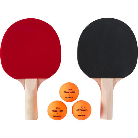 Small Indoor Table Tennis Set PPR 100 with 2 Bats and 3 Balls