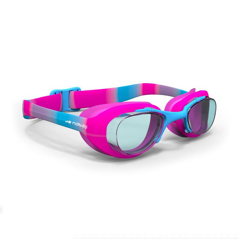 Zwembril met heldere glazen X-Base maat S roze blauw
