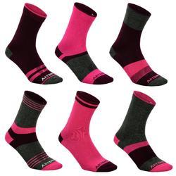 Hoge sportsokken voor volwassenen RS160, roze en donkergrijs, set van 6 paar